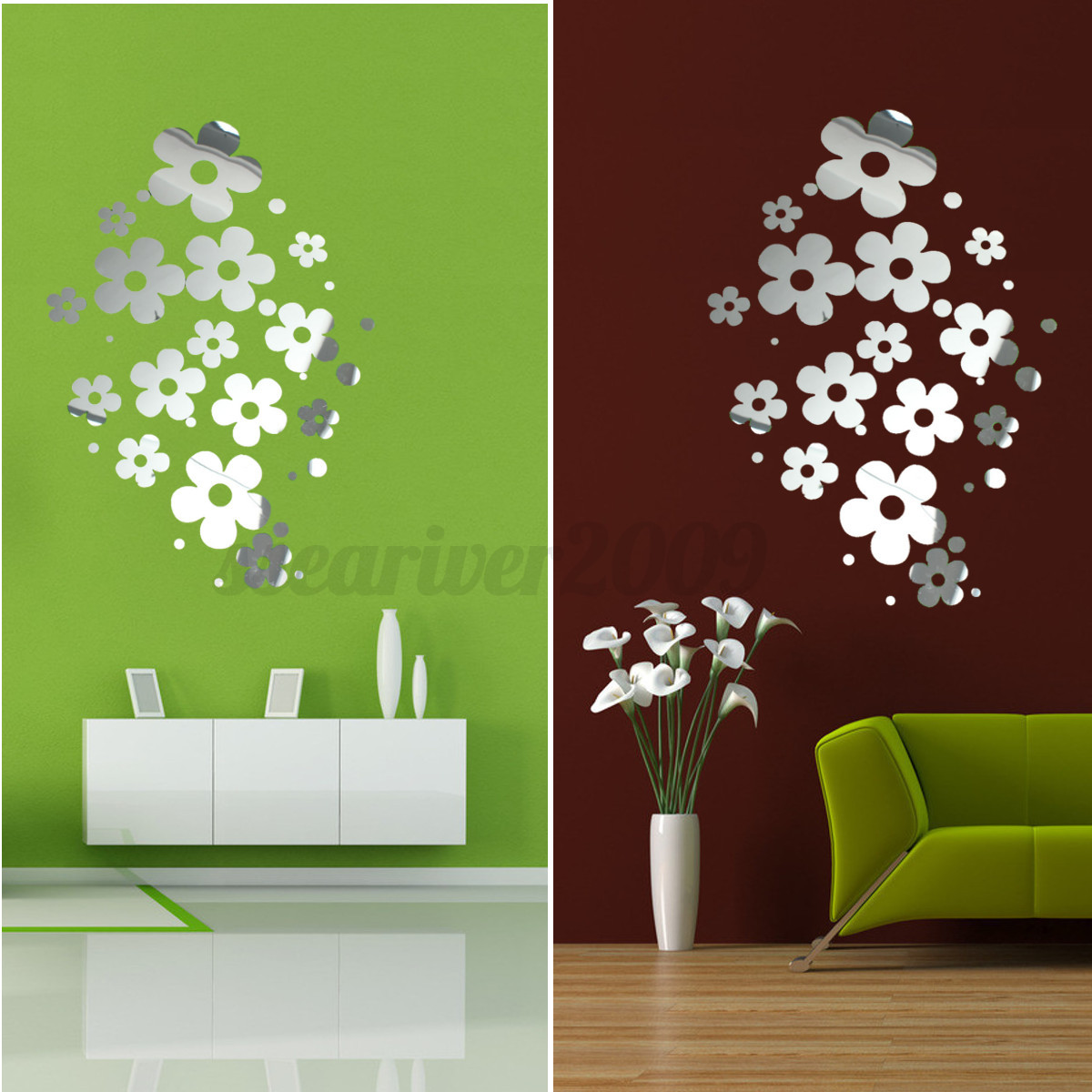 diy 3d silver mirror surface wall sticker mural decal art living room home decor ebay. Black Bedroom Furniture Sets. Home Design Ideas