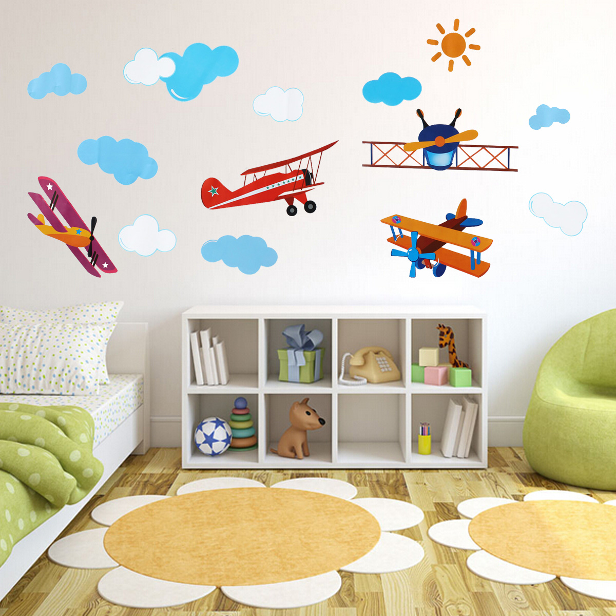 Four air planes multicolor wall sticker home vinyl decal kids room diy art decor ebay - Kids room decoration ...