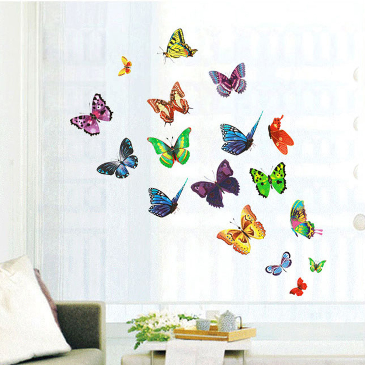 Diy 17 butterflies wall stickers mural art decals for Butterfly mural wallpaper