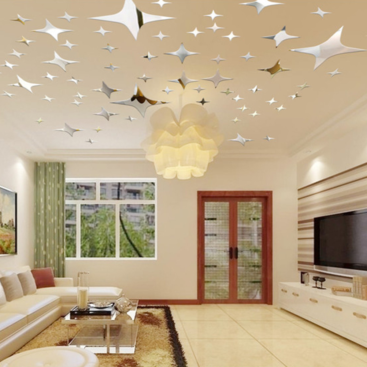 43pcs sky stars mirror ceiling wall stickers room art for Ceiling mural decal
