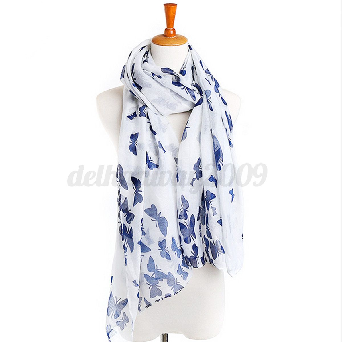Fashion Womens Ladies Butterfly Pattern Print Large Soft Long Scarf Shawl Stole