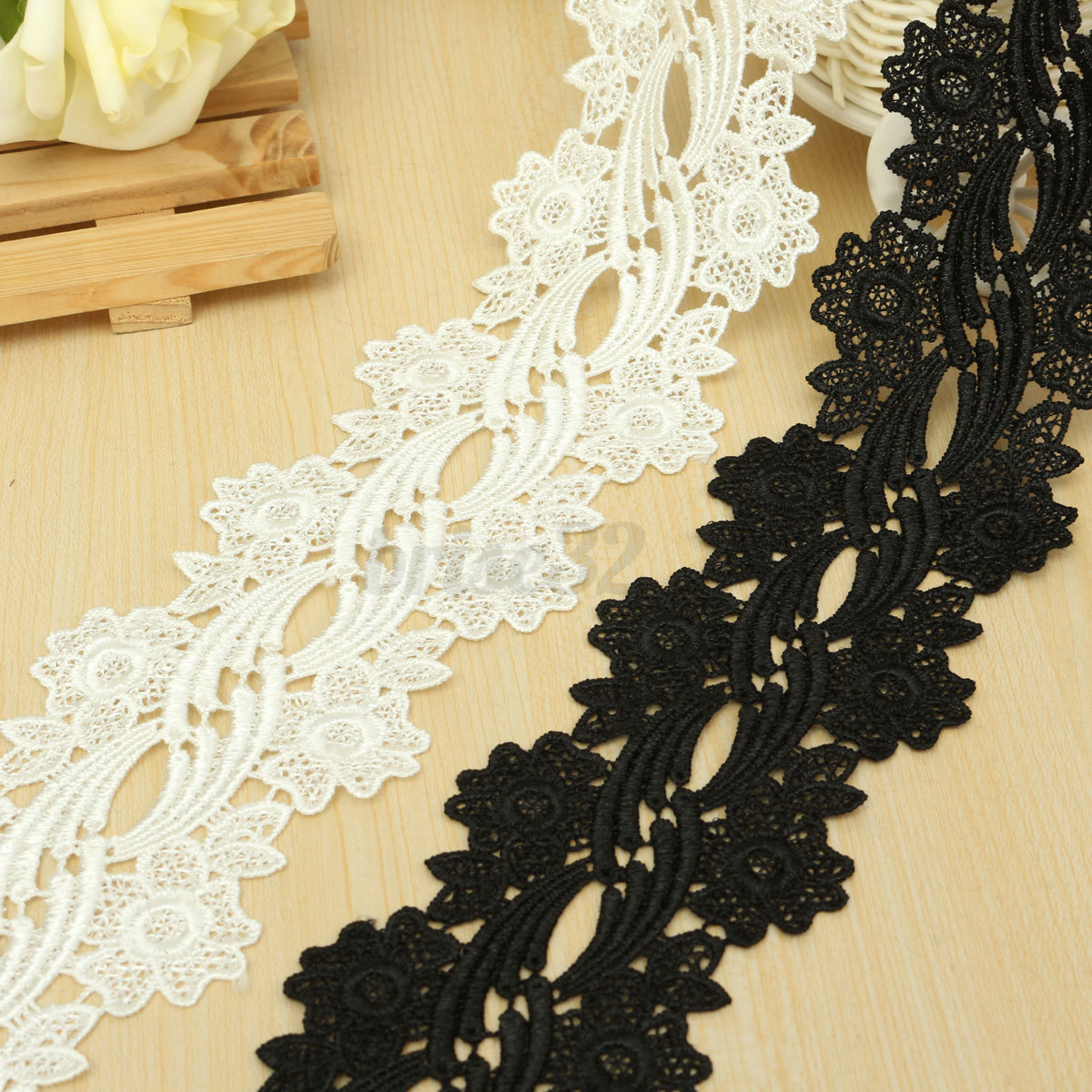 Yard flower trimmings embroidered net lace trim ribbon