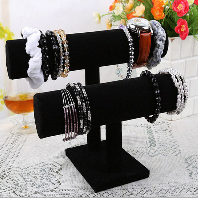 1/2/3 Tier Velvet Bangle Bracelet Watch Chain Jewellery Stand Display Case Rack