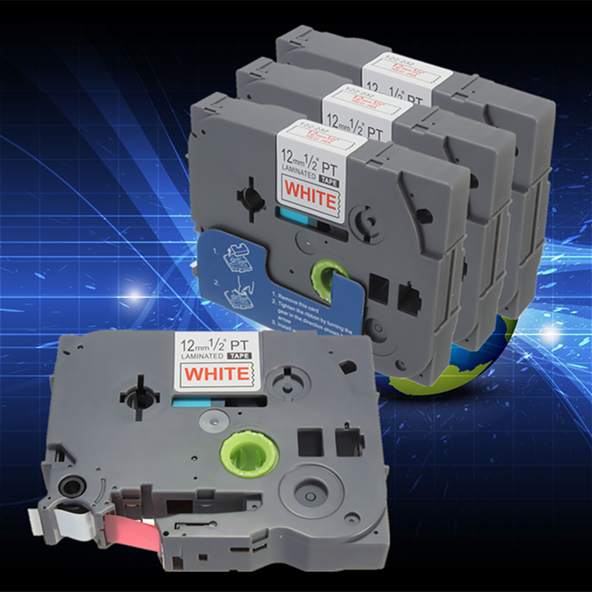 1PC 11 Colors TZ Label Tape Cartridge Compatible for P-Touch Printer - 12mm x 8m