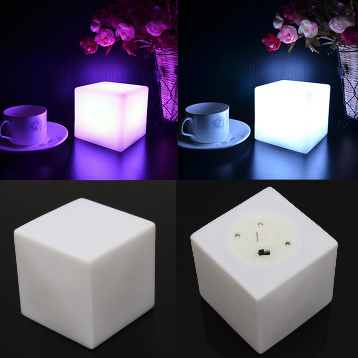 Led 7 color changing mood cubes ball night lamp light for Room decor led lights