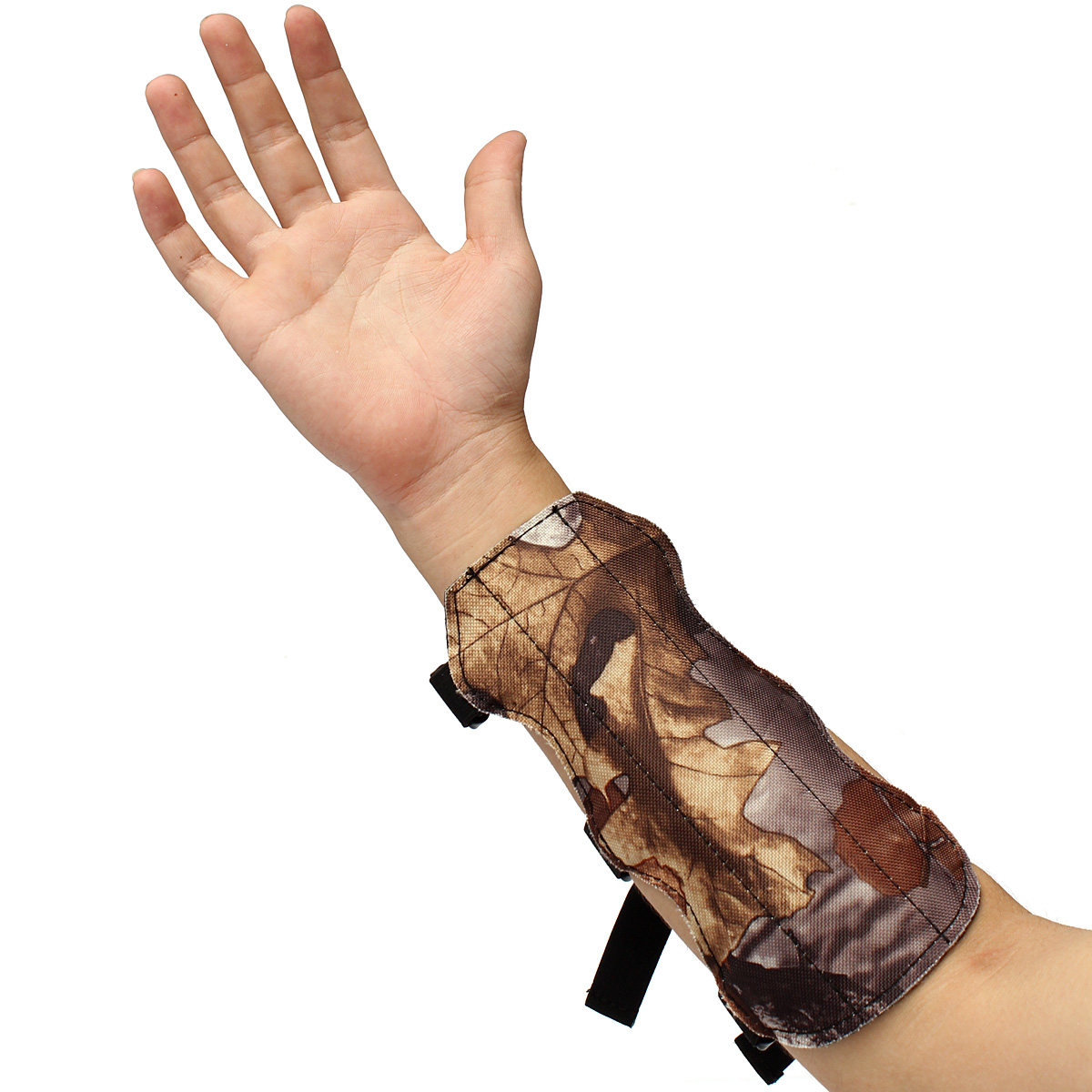 Shooting Archery Arm Guard 4 Straps Camouflage Hunting Protection Gear Leather