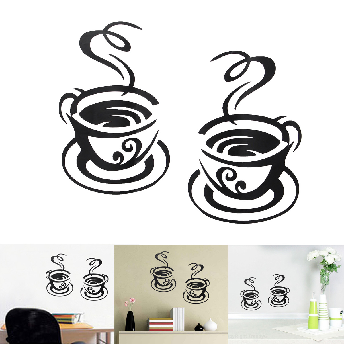 Wall Art Stickers B And Q : Coffee tea cup kitchen bar home sticker mural wall