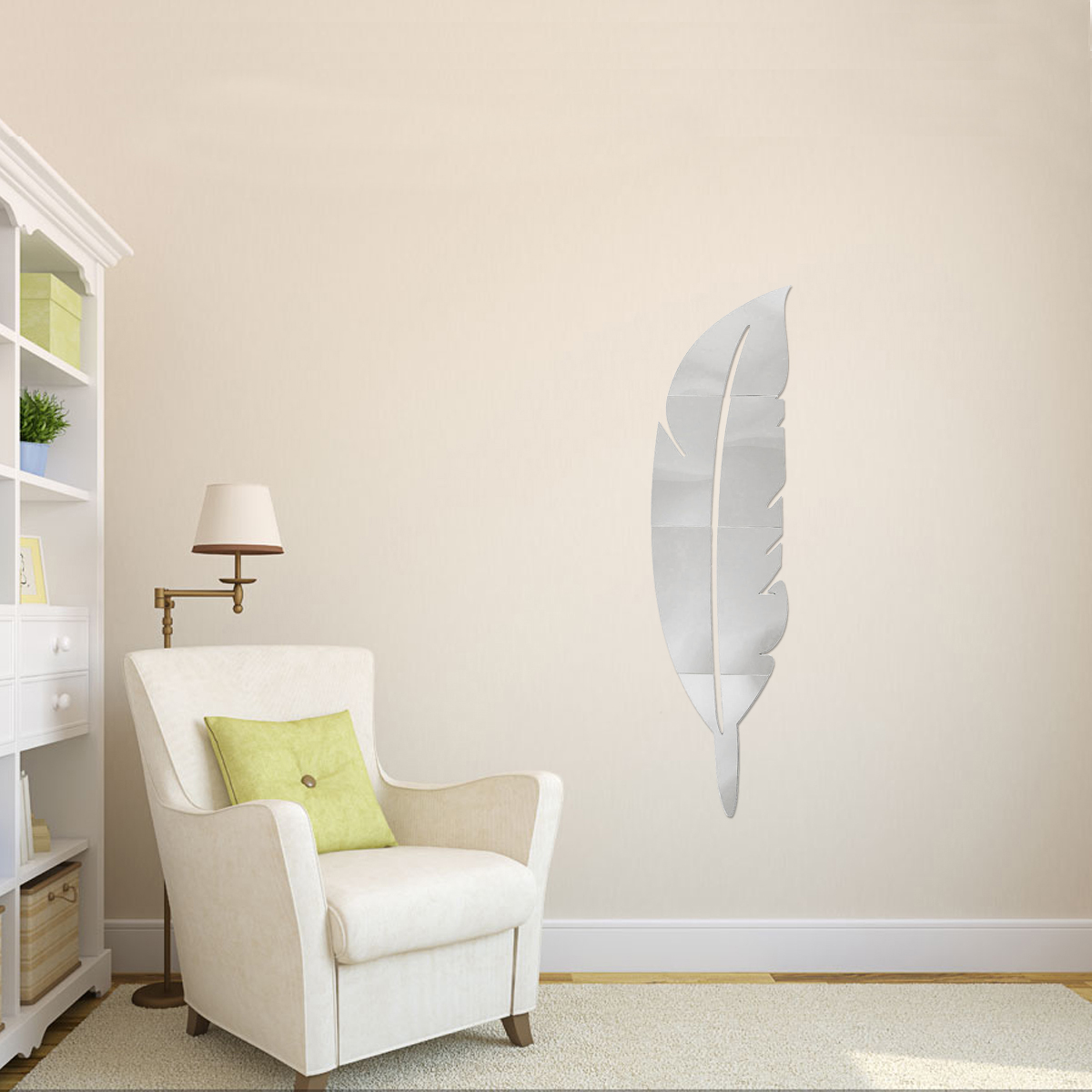 Diy modern plume feather acrylic mirror wall sticker home for Wall decor mirror home accents