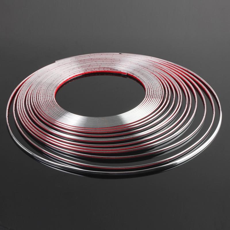 15m x6mm bande ruban argent d corative chrome strip for Bande adhesive decorative