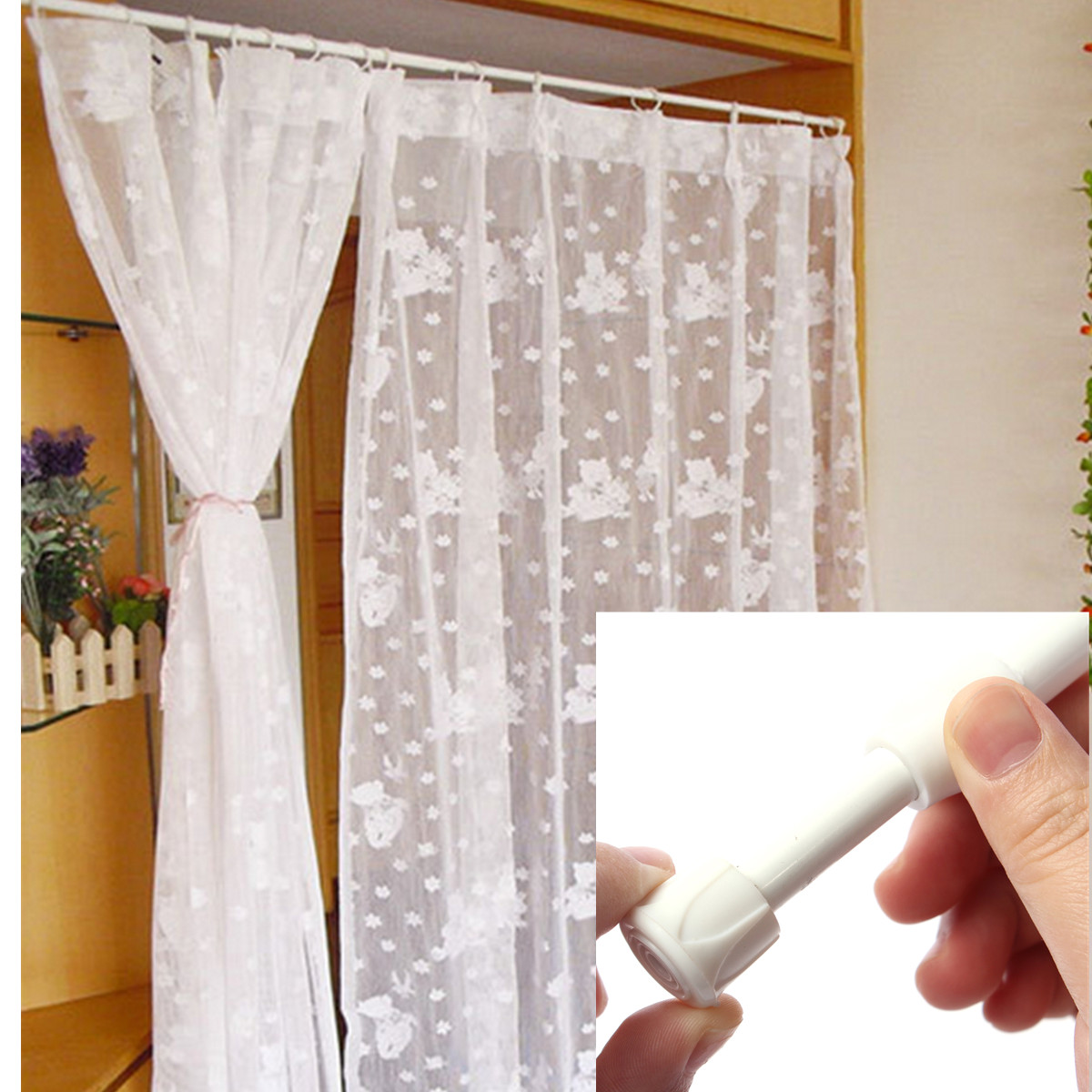 shower curtain rail rod voile extendable tension telescopic pole extra