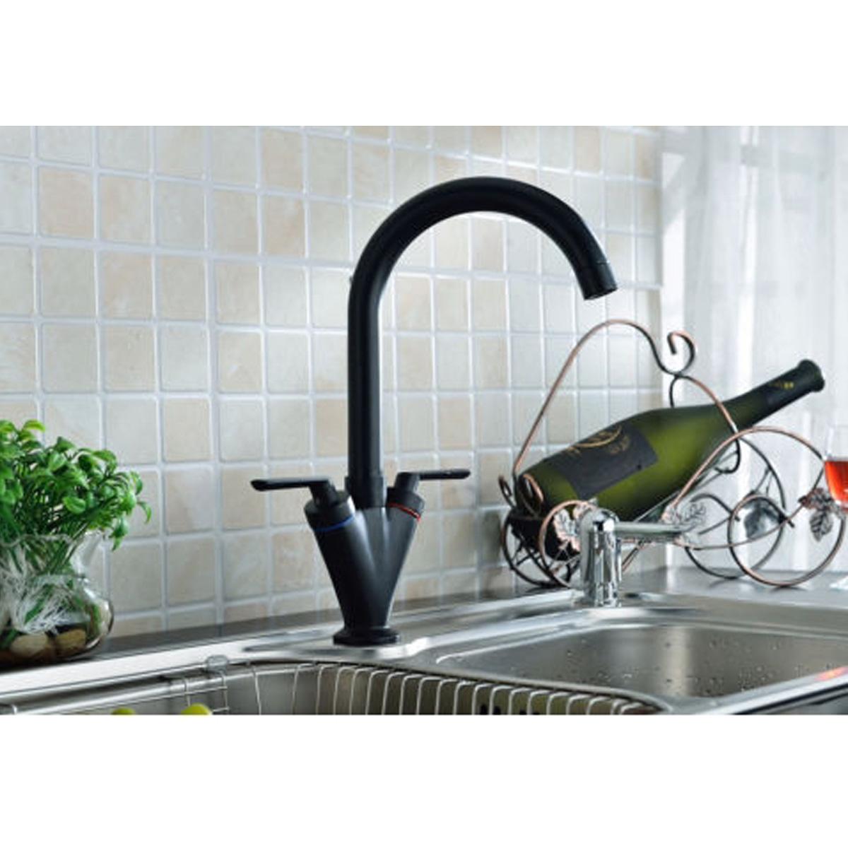 wasserhahn k chenarmatur waschbecken einhebel armatur schwarz wasserfall design ebay. Black Bedroom Furniture Sets. Home Design Ideas