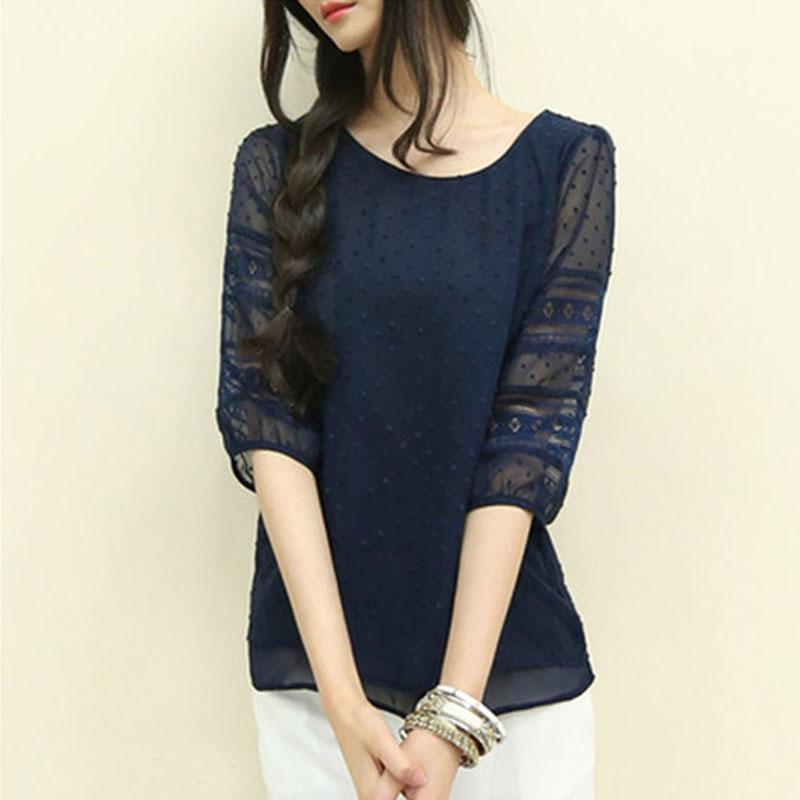 Korean Women Lace Sheer Half Sleeve Chiffon Casual Tops Blouse Tee Shirt UK 6-12