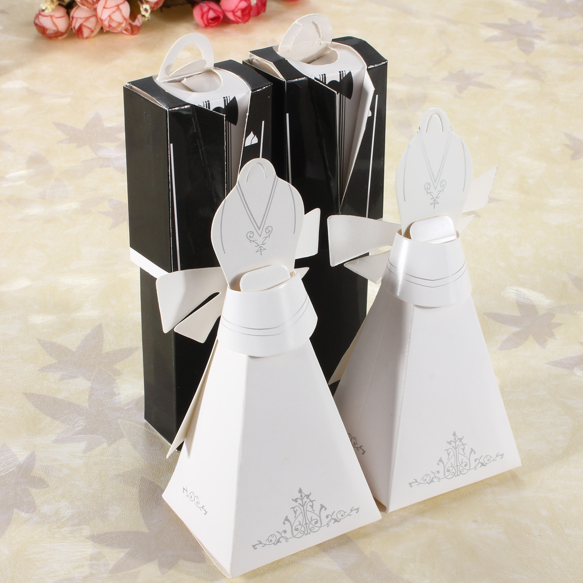 100Pcs Tuxedo & Dress Wedding Party Favor Gift Groom Bridal Ribbon ...