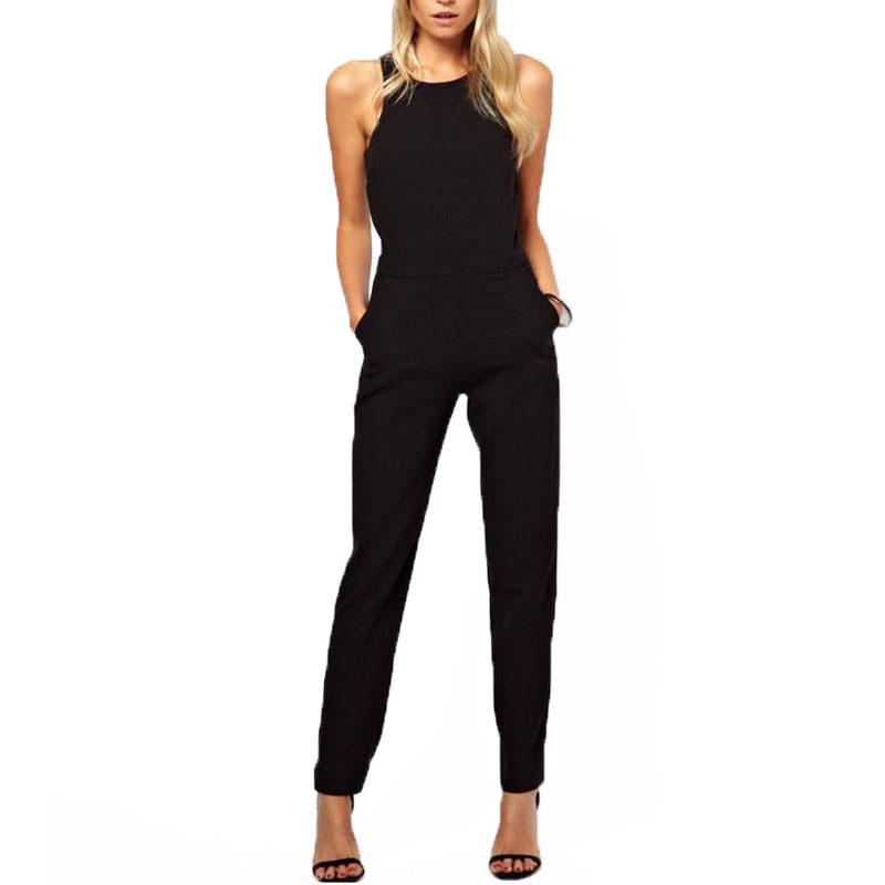 New Elegant Women Sleeveless Halter Neck Jumpsuit Backless Pant Rompers Trousers