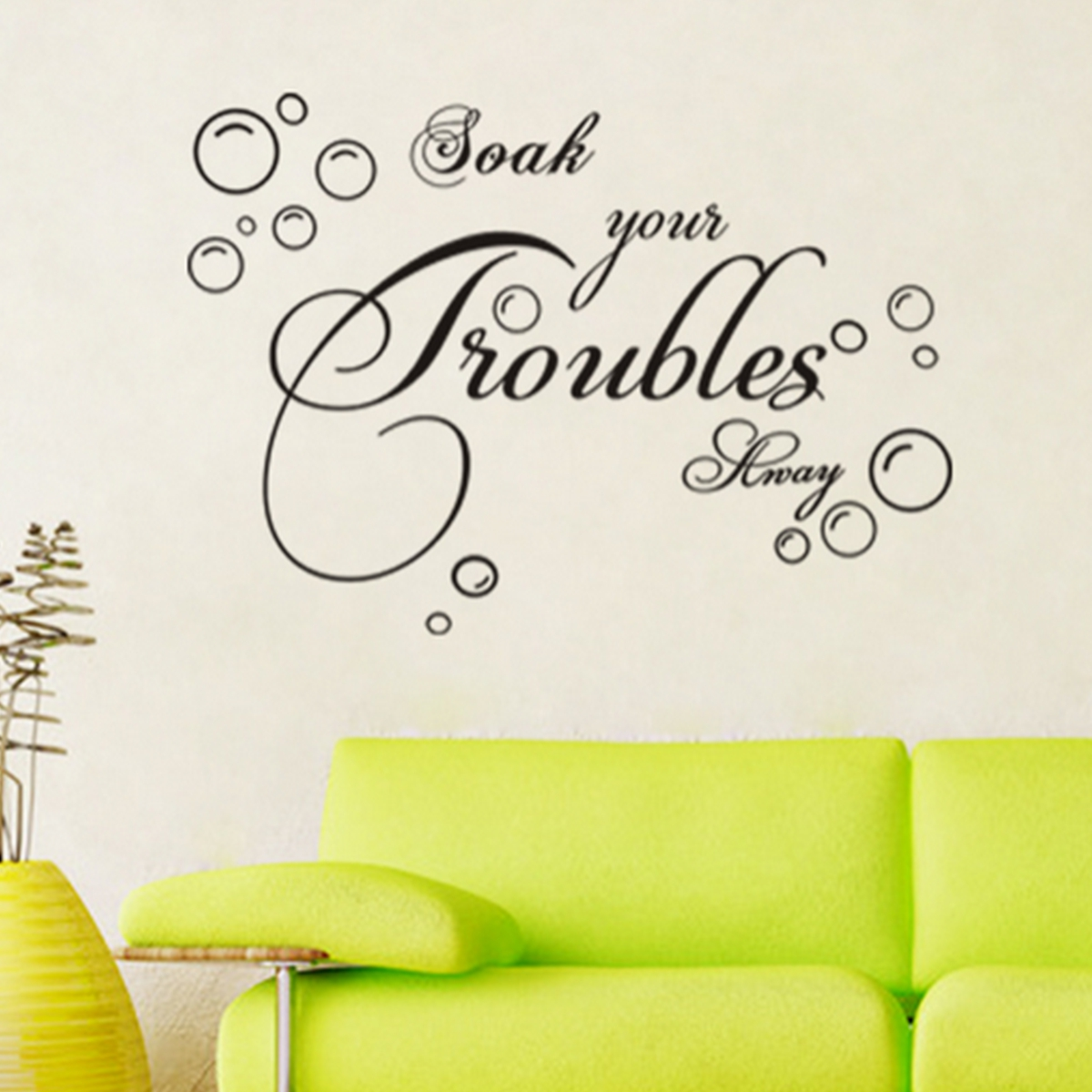 soak your trouble away art quote wall decal decor vinyl
