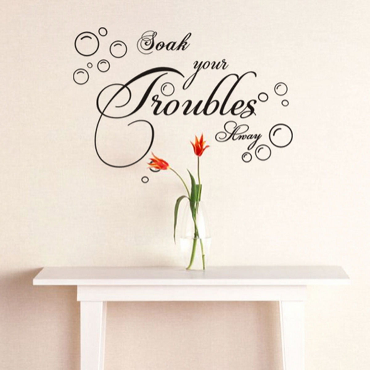 soak your trouble away art quote wall decal decor vinyl glass backsplash wall tiles kitchen bathroom wall stickers