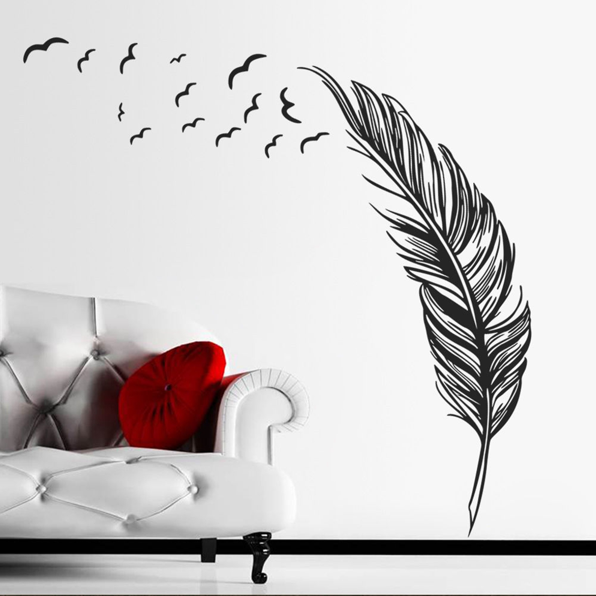 birds flying feather wall sticker vinyl removable home 4 pcs silver 3d circles mirror art wall sticker decoration