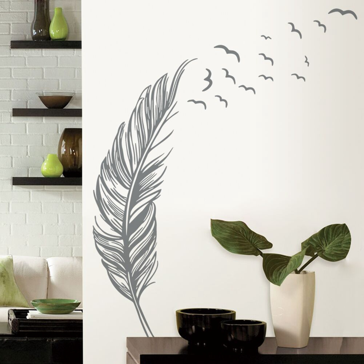 Birds Flying Feather Wall Sticker Vinyl Removable Home Decal Mural Art Decor