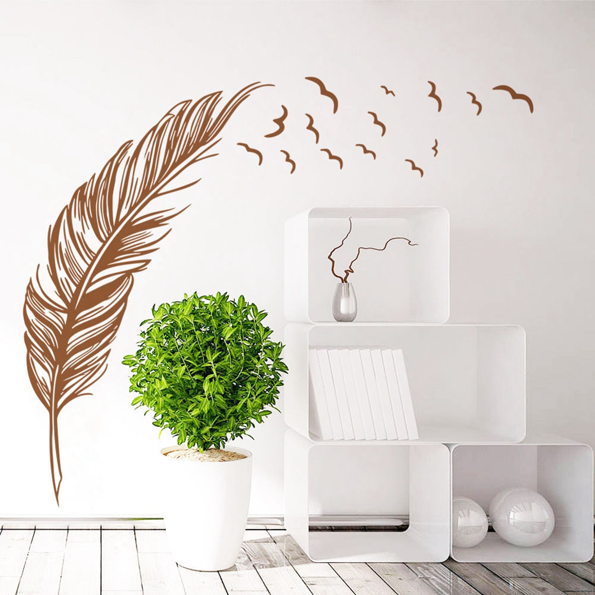 Birds flying feather wall sticker vinyl removable home - Stickers para decorar paredes ...