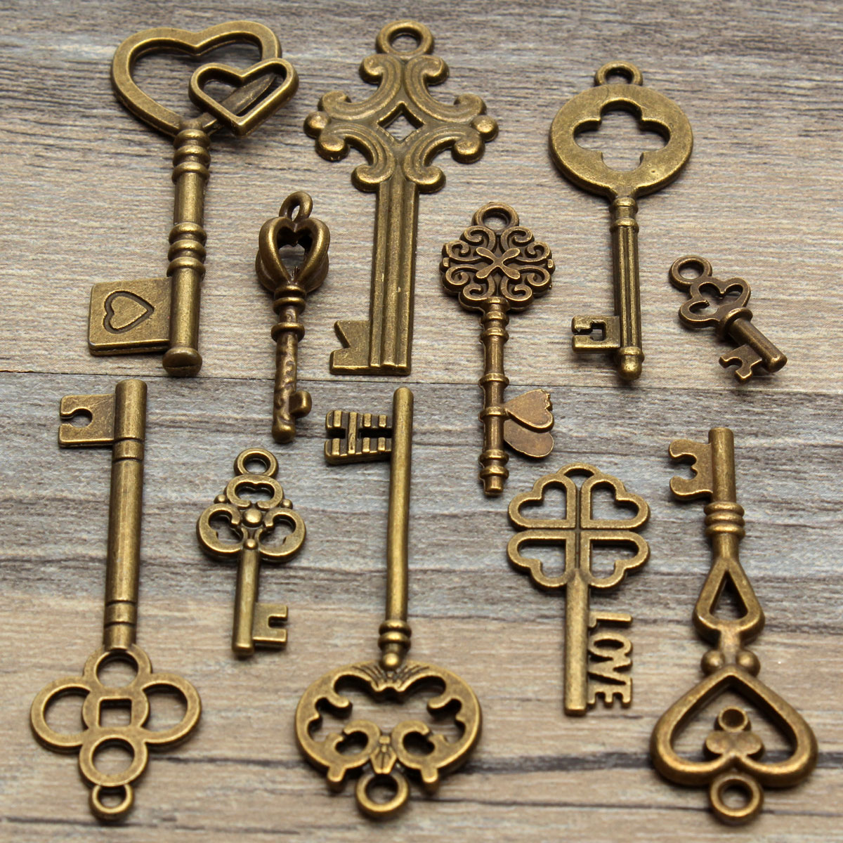 Set Of 11 Antique Vintage Old Look Skeleton Key Pendant Heart Bow Lock Steampunk