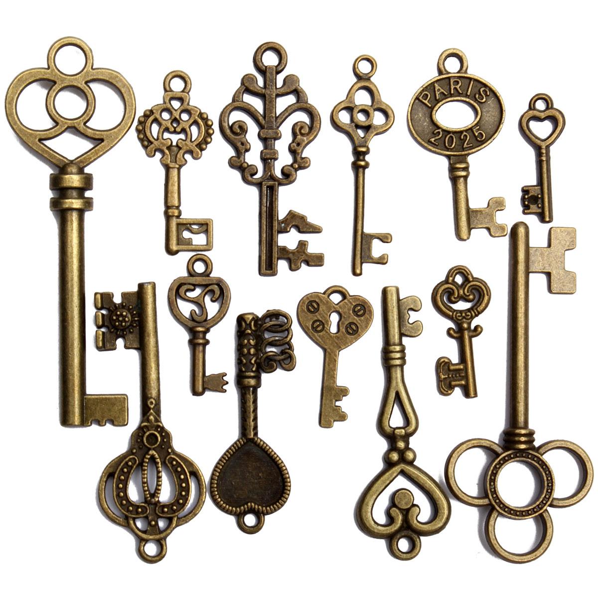 13 assorted antique vintage vtg old look skeleton keys for Antique looking keys