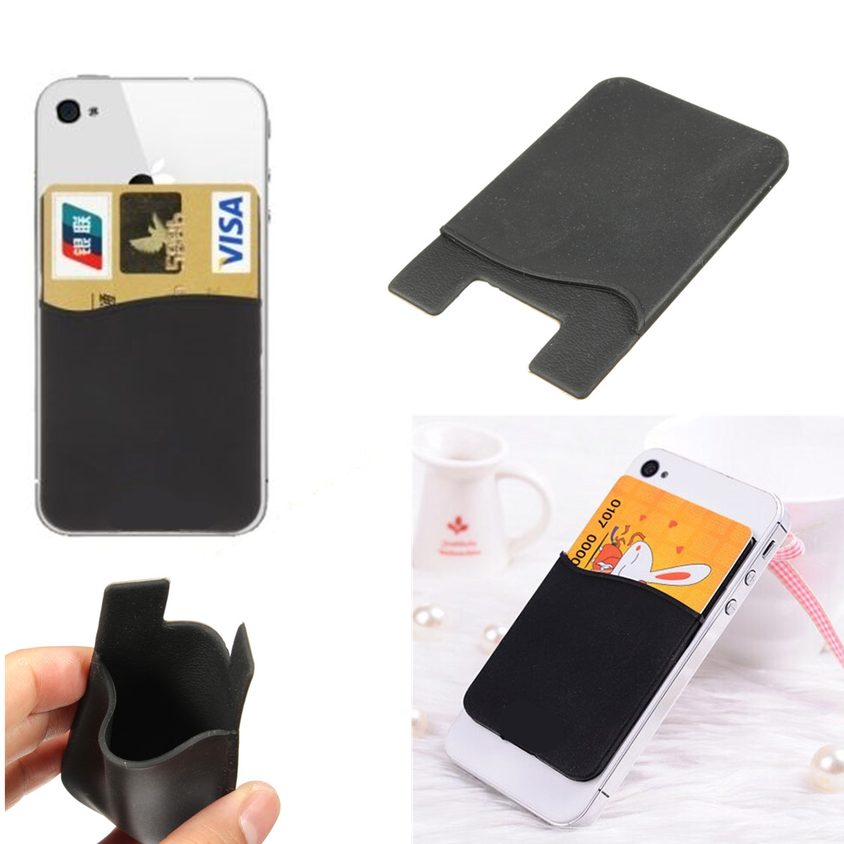 factory authentic 36f05 aa74a Silicone Smart Wallet Credit Card Cash Stick Adhesive Holder Case For Phone    eBay