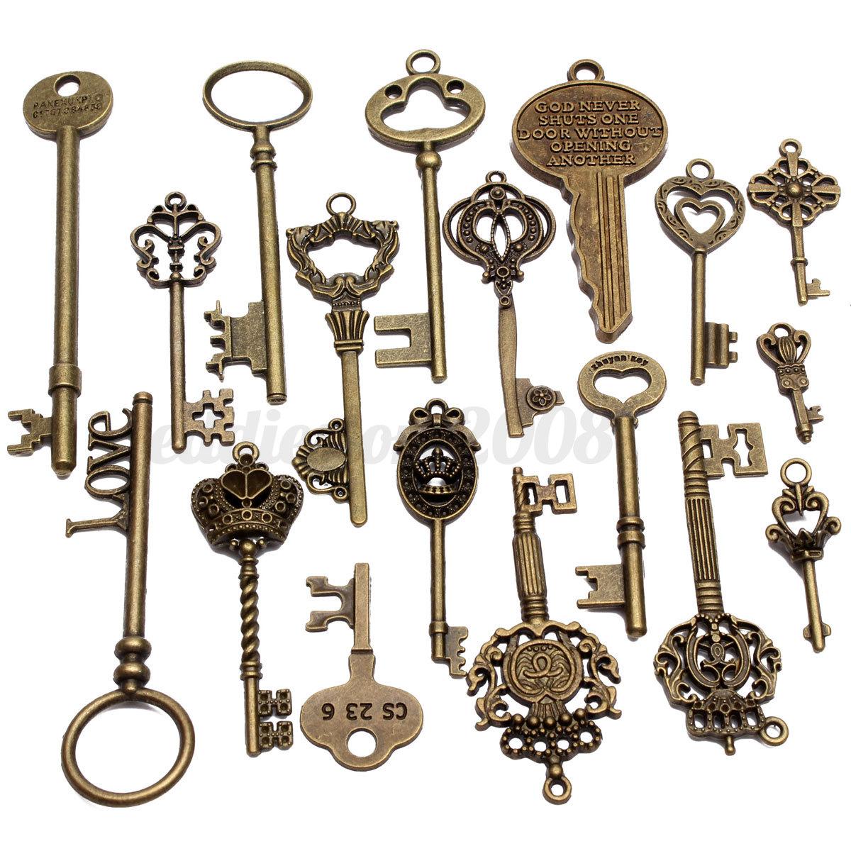 18 Assorted Antique Vintage VTG Old Look Skeleton Keys Bronze Steampunk Pendants 2