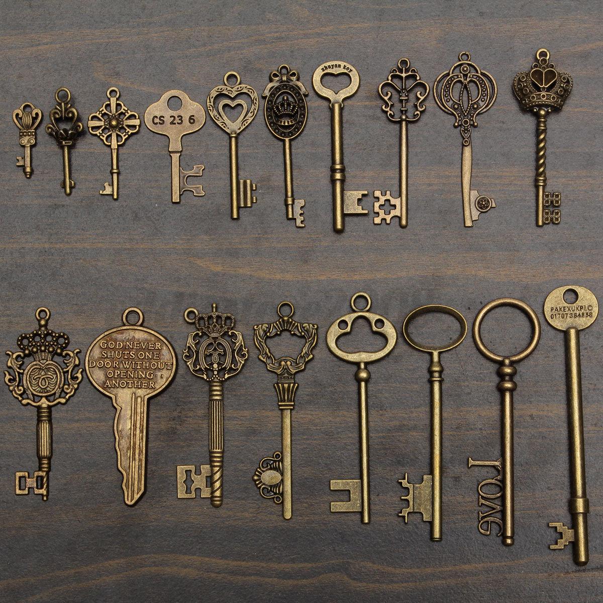 18 Assorted Antique Vintage VTG Old Look Skeleton Keys Bronze Steampunk Pendants 5