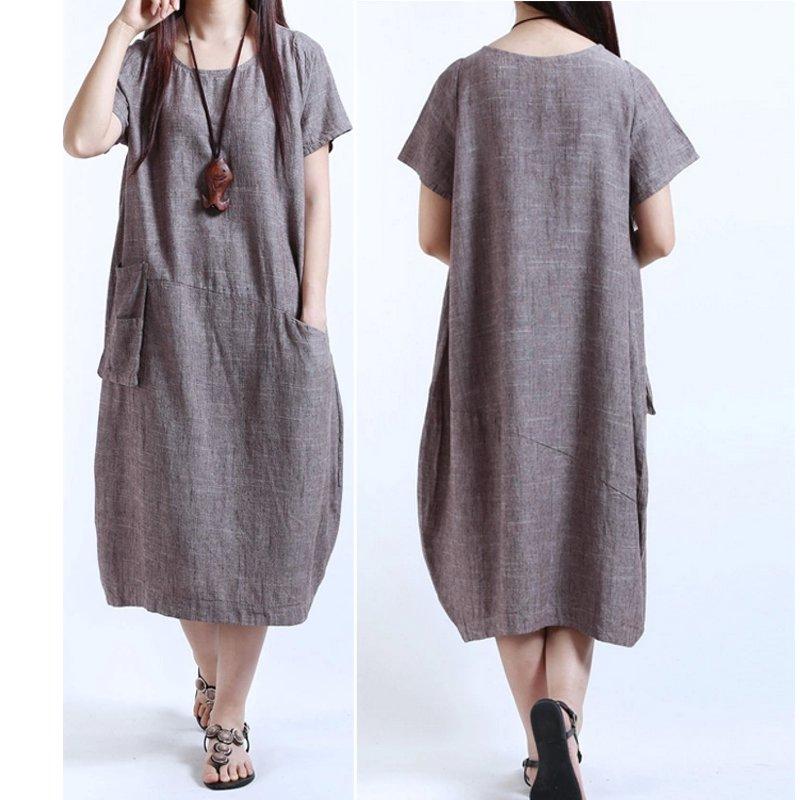 Boho Women Vintage Cotton Linen Short Sleeve Loose Baggy Skirt Casual Long Dress