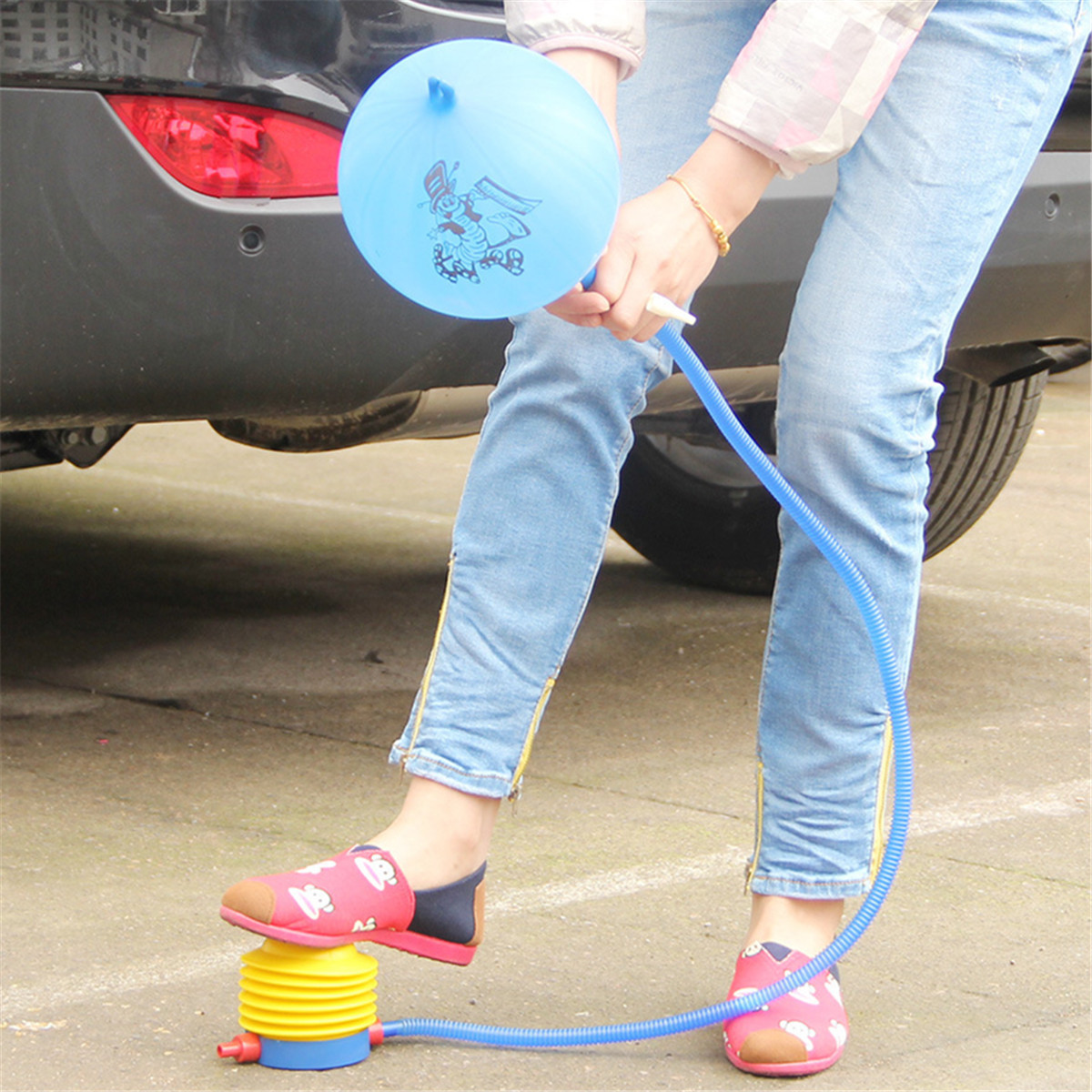 Foot air pump inflatable inflator inflation balloon yoga for Housse ballon yoga