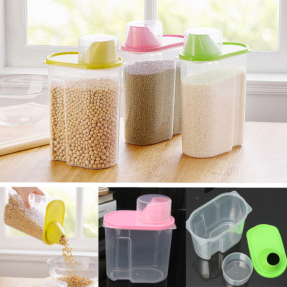 HOT 19L Kitchen Food Cereal Grain Bean Rice Plastic Storage