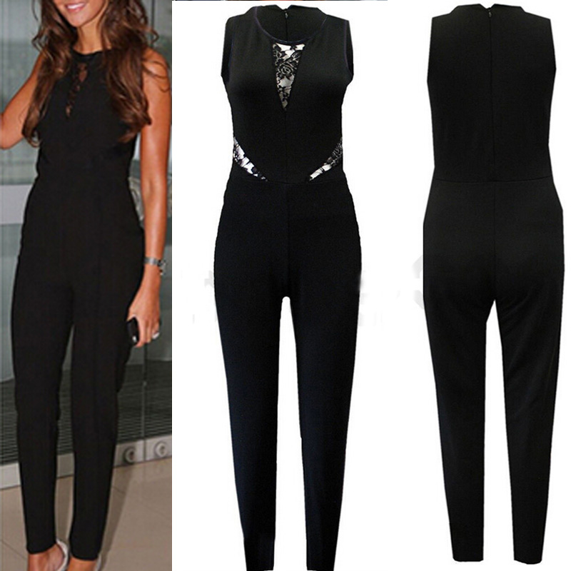 elegant damen spitze splei lange overalls playsuit romper jumpsuit anzug hose ebay. Black Bedroom Furniture Sets. Home Design Ideas