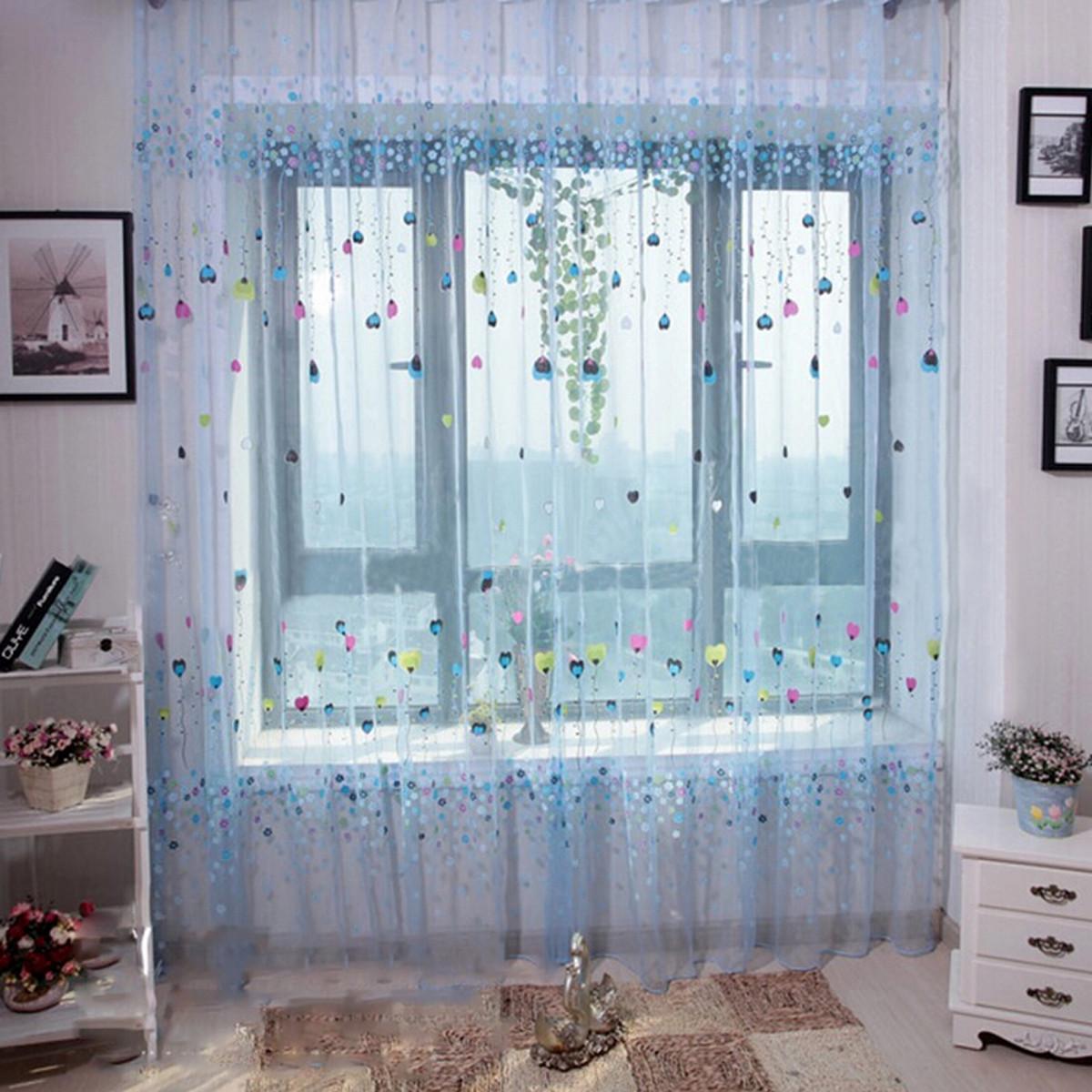 Color coeur fleur rideau fen tre fil porte voilage - Rideau moustiquaire porte fenetre ...