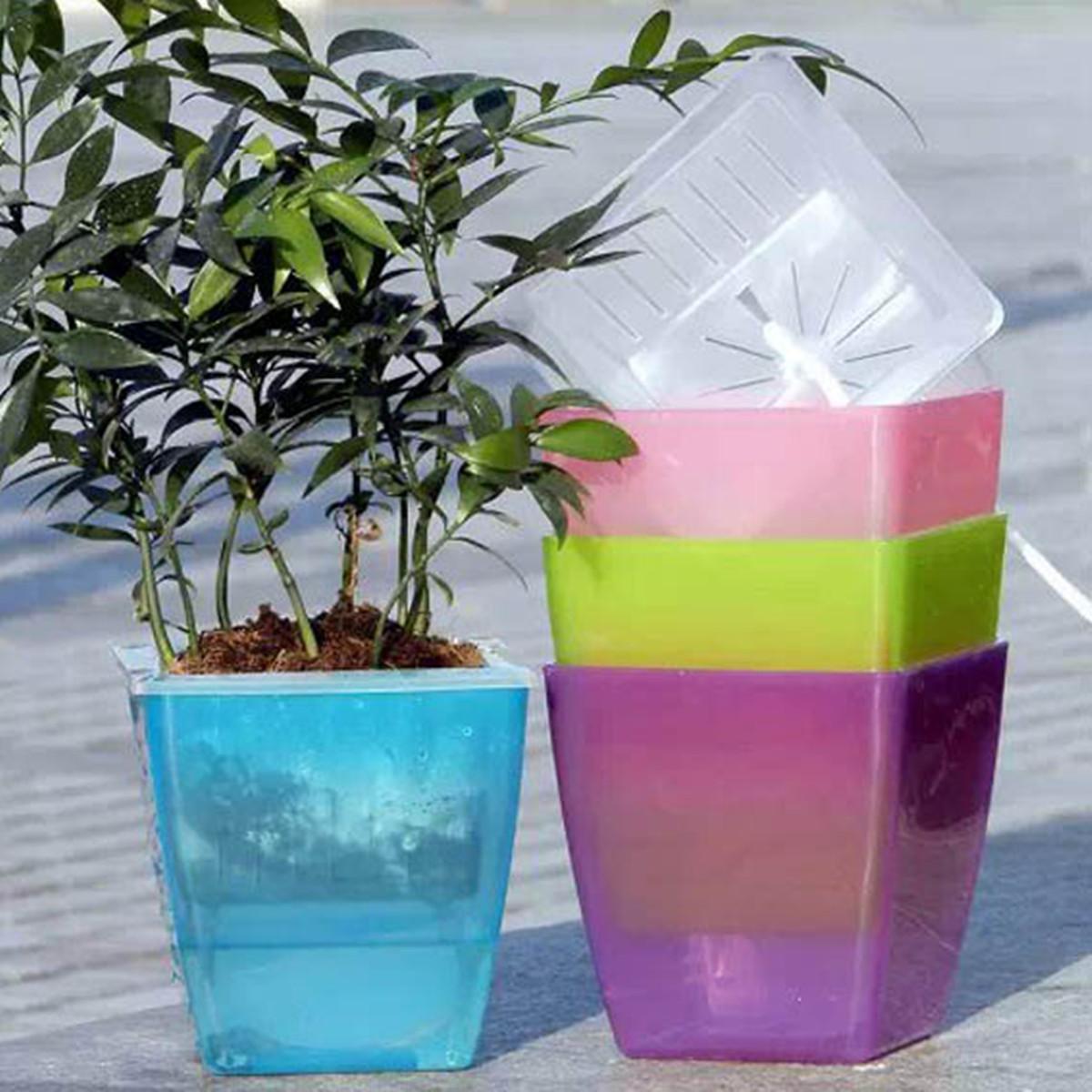 Colorful plastic flower pot water storage lazy desktop Colorful pots for indoor plants