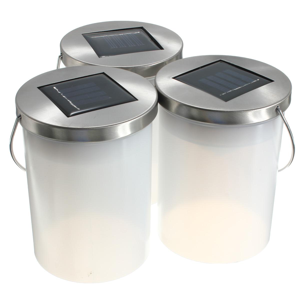 Solar Powered Hanging Cylinder Outdoor Light LED Landscape Lantern Lamp 3 Col