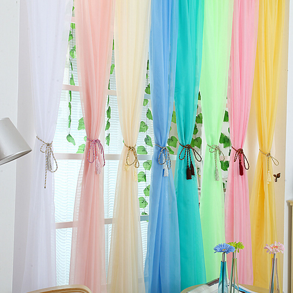 Window curtain drape panel scarf valances sheer voile room for Decoration maison rideaux fenetre