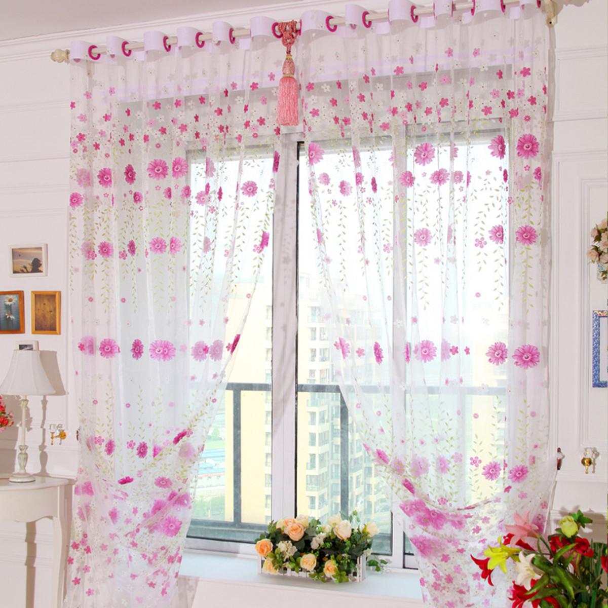 Fleur floral rideau fen tre fil porte voilage moustiquaire for Moustiquaire rideau pour porte fenetre