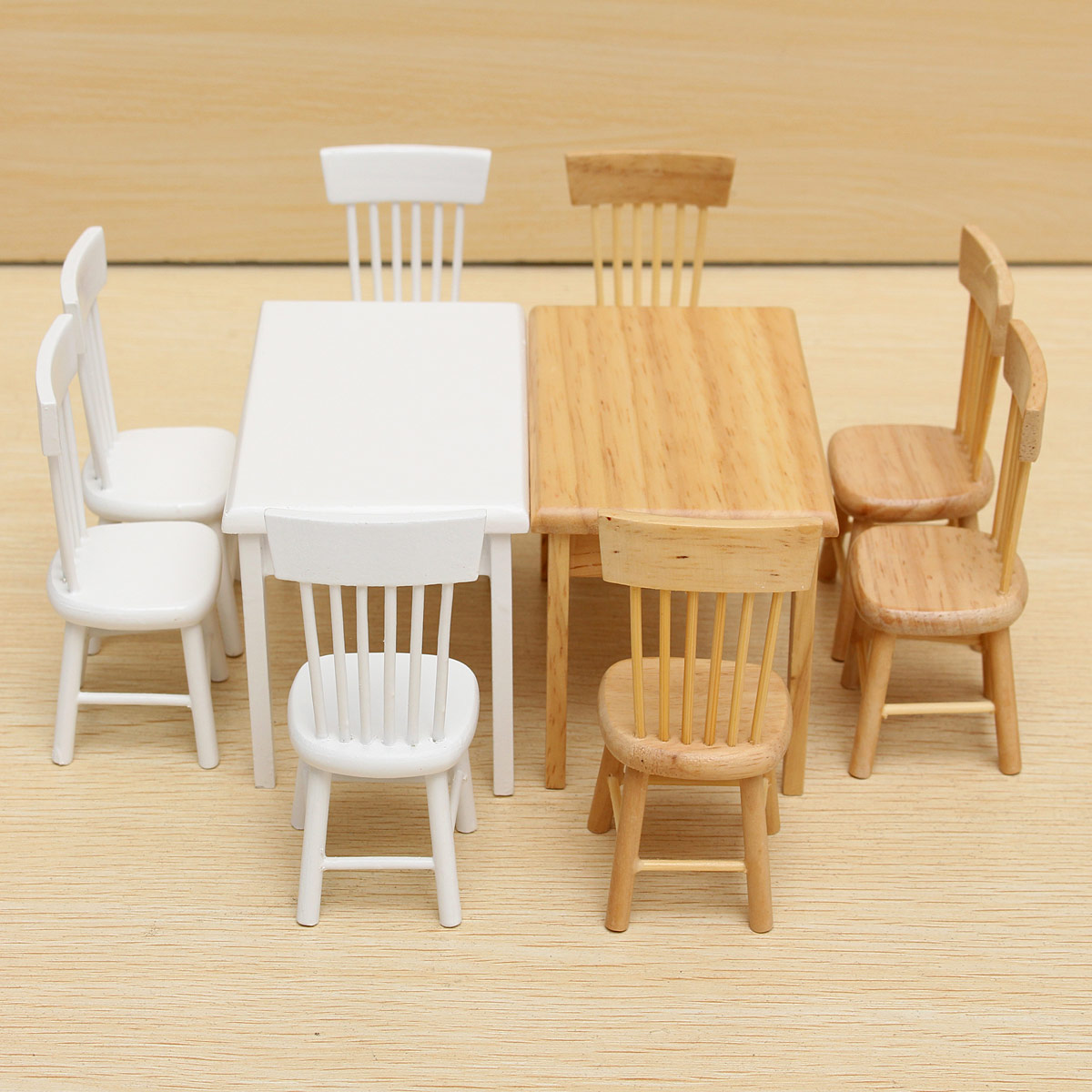 1 12 dollhouse miniature furniture wooden dining room table 4 chairs set gift ebay - Dollhouse dining room furniture ...