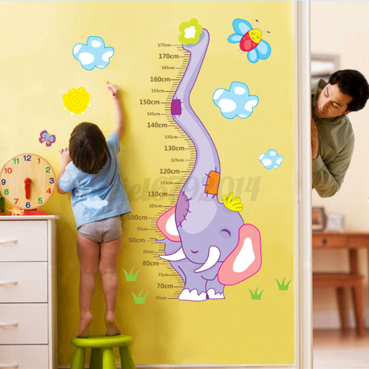 children height growth chart measure wall sticker kids ruler wall vinyl decal sticker growth chart diy wooden