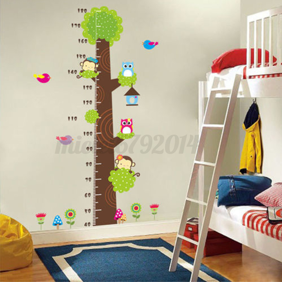 Children height growth chart measure wall sticker kids for Growth chart for kids room