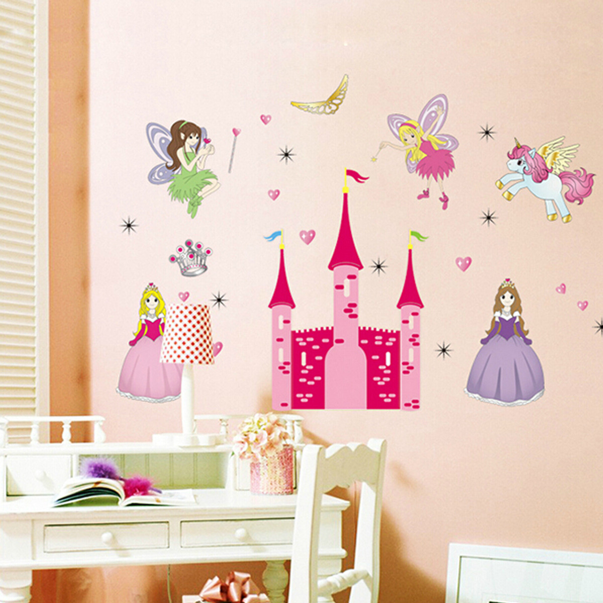 Removable vinyl mural wall sticker fairy princess castle for Cuartos decorados para bebes