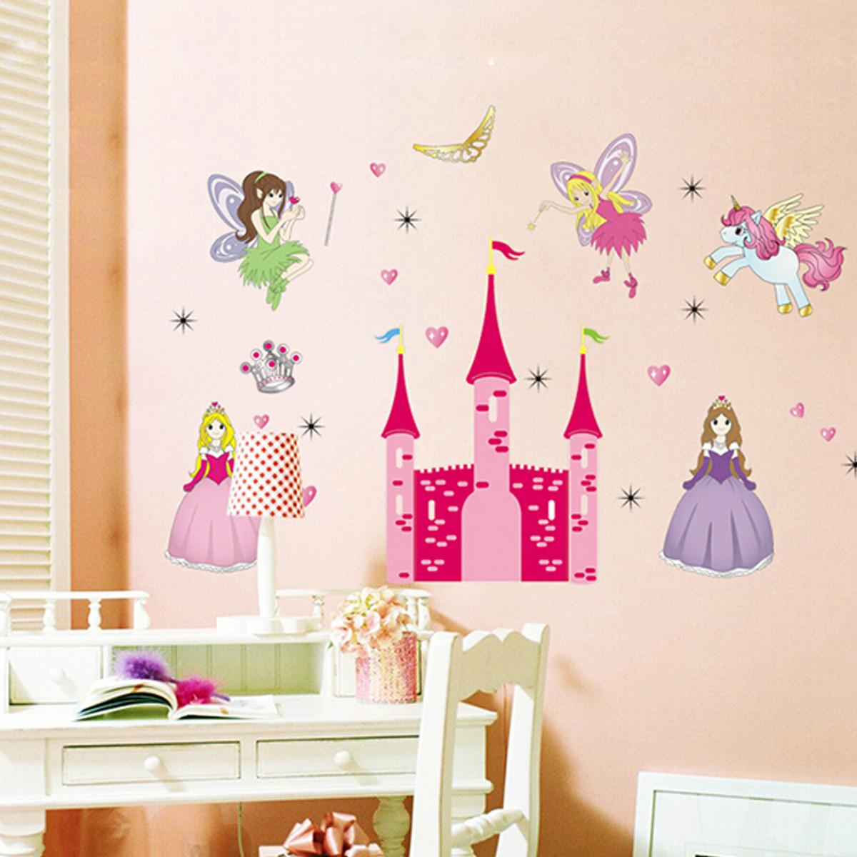 Removable vinyl mural wall sticker fairy princess castle for Cuartos para ninas decorados