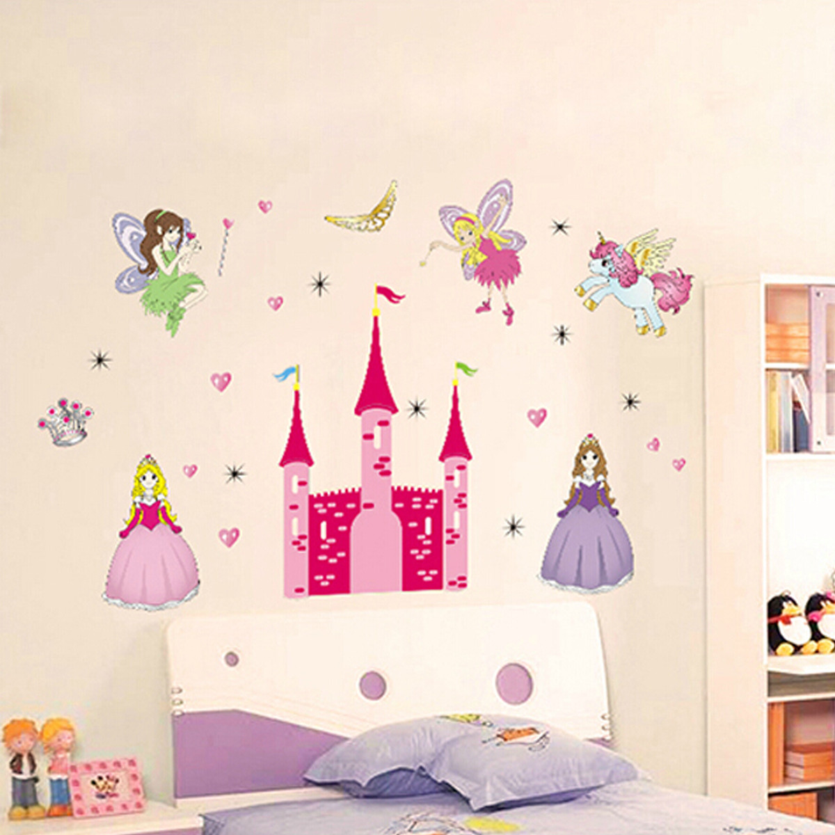 removable vinyl mural wall sticker fairy princess castle personalised fairy princess peppa wall sticker