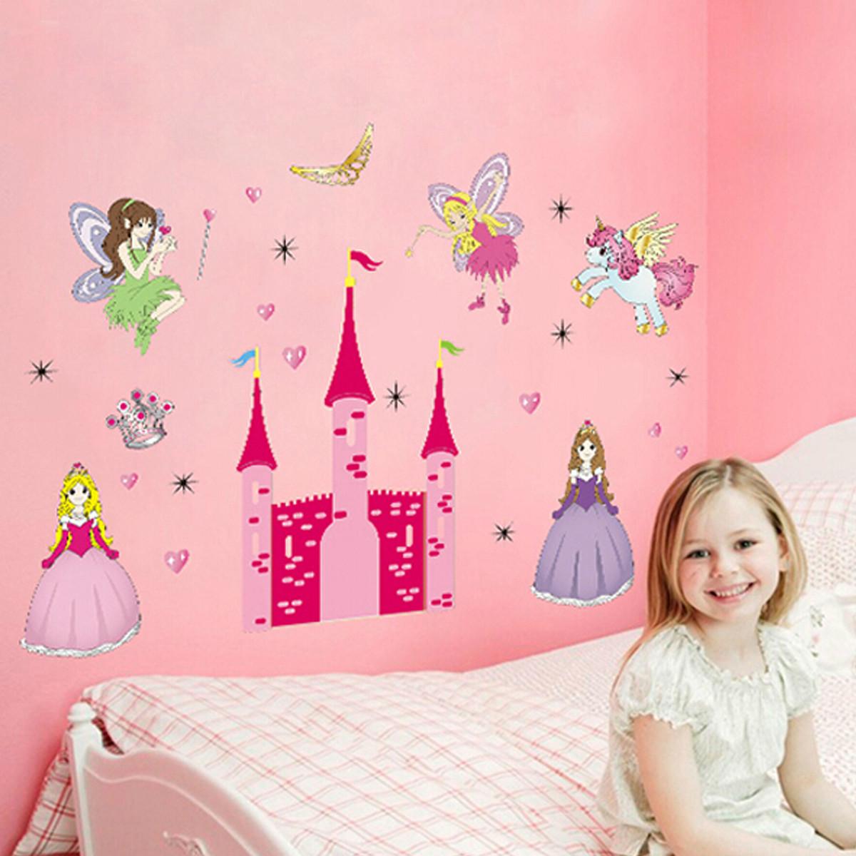 removable vinyl mural wall sticker fairy princess castle luxury fairy princess nursery wall stickers