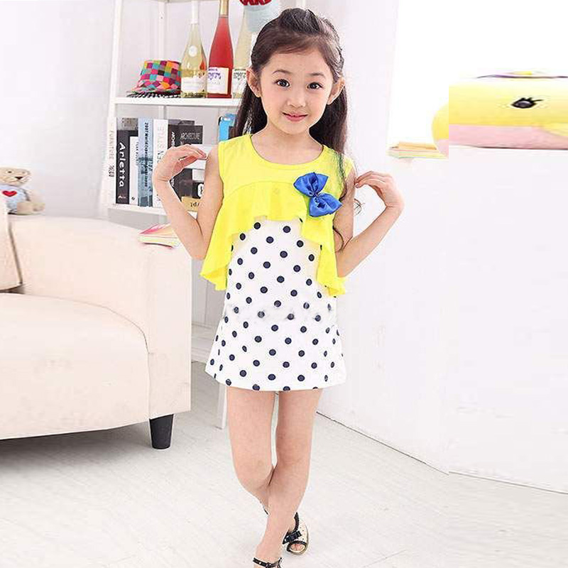 Kids Children Baby Girls Summer Polka Dots One-Piece Clothes Party Dress 18M-6Y