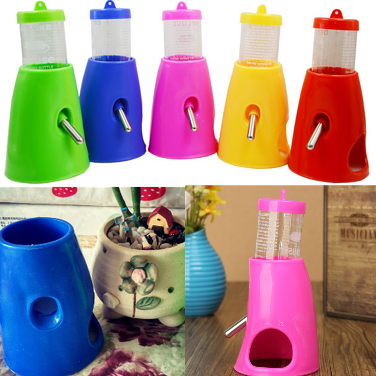 2 In 1 Hamsters Water Bottle Holder Dispenser With Base