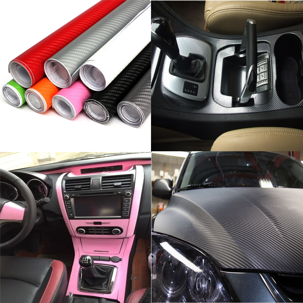 2mx50cm diy 3d autofolie auto carbon fiber vinyl film sticker aufkleber 8 farben ebay. Black Bedroom Furniture Sets. Home Design Ideas