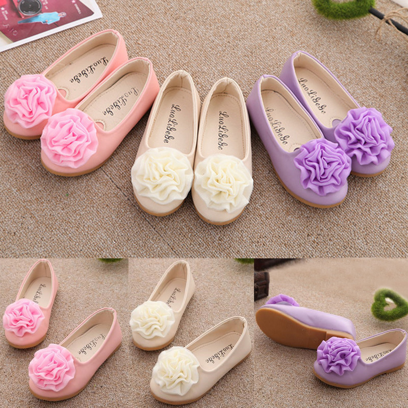 Kid Girls Baby Flower Flats Slip On Shoes Party Princess Loafers Dress Slippers