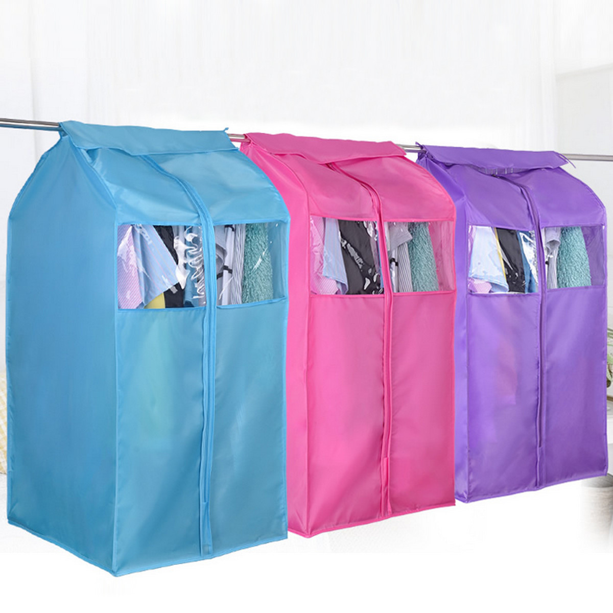 Oxford-Cloth-Hanging-Storage-Bag-Garment-Suit-Coat- & Oxford Cloth Hanging Storage Bag Garment Suit Coat Wardrobe Dust ...