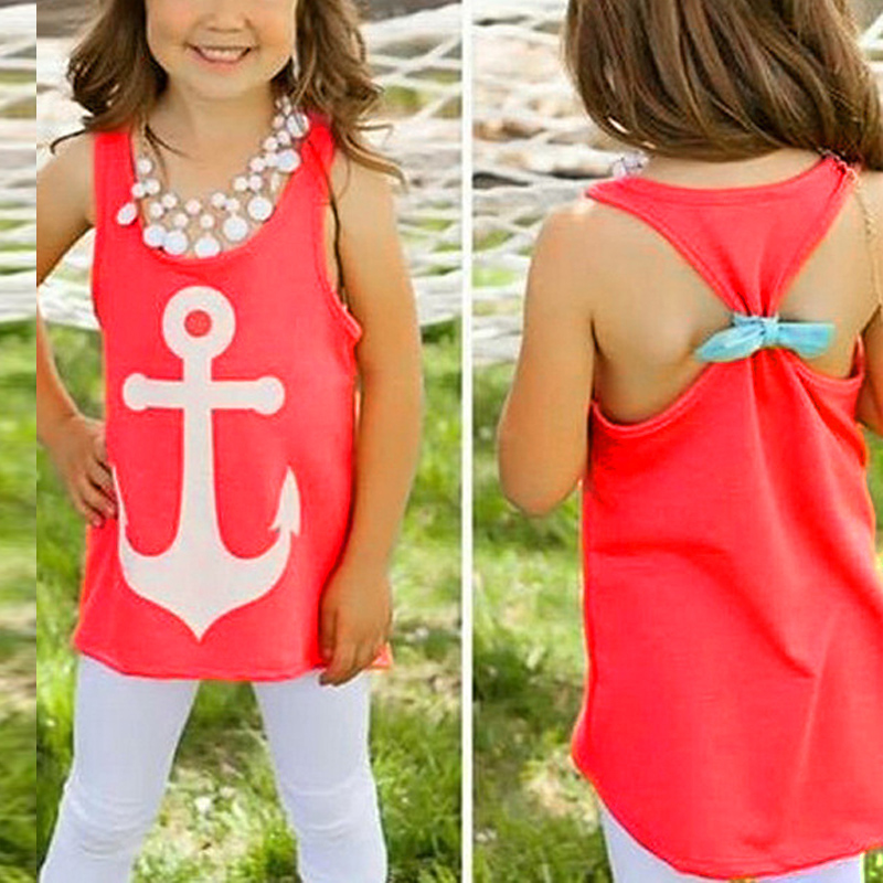 Summer Cute Kid Girl Kid Anchor Vest Top Shirts Clothes Blouse Tank Top Tee 3-8Y